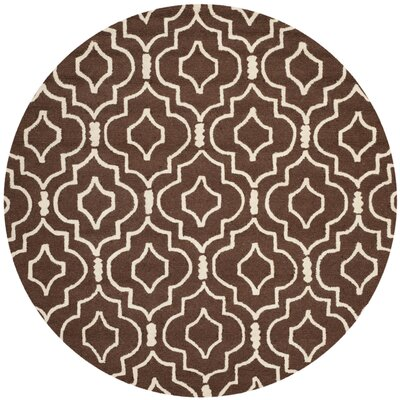 Martins Dark Brown Area Rug Rug Size: Round 6