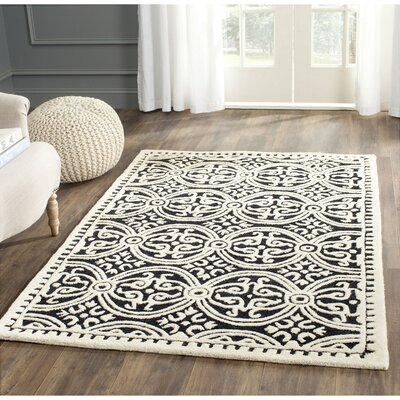 Martins  Black/Ivory Area Rug Rug Size: Square 6