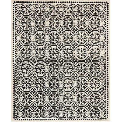 Martins Black Area Rug Rug Size: 4' x 6'