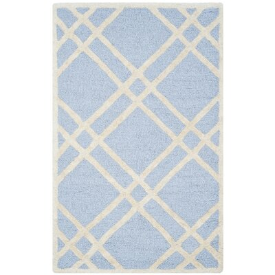 Martins Hand-Tufted Wool Light Blue/Ivory Area Rug Rug Size: Rectangle 26 x 4