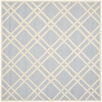 Martins Hand-Tufted Wool Light Blue/Ivory Area Rug Rug Size: Square 6