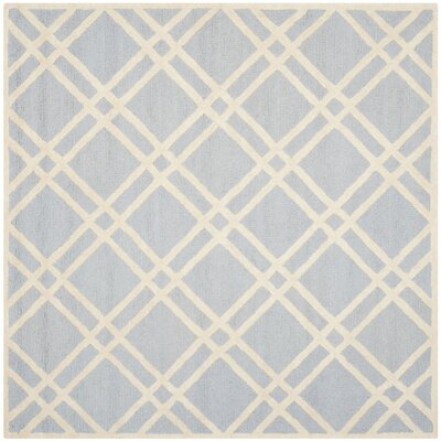 Martins Hand-Tufted Wool Light Blue/Ivory Area Rug Rug Size: Square 8