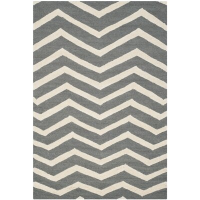 Martins Dark Gray Area Rug Rug Size: 5 x 8