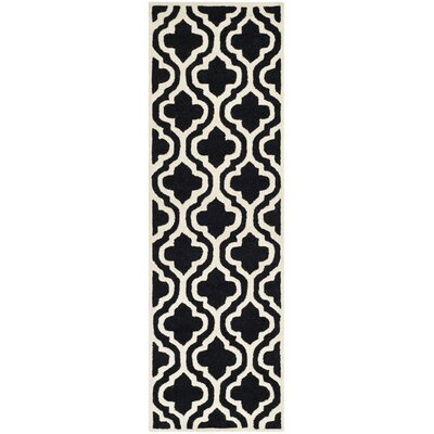 Martins Black Area Rug Rug Size: Runner 26 x 8