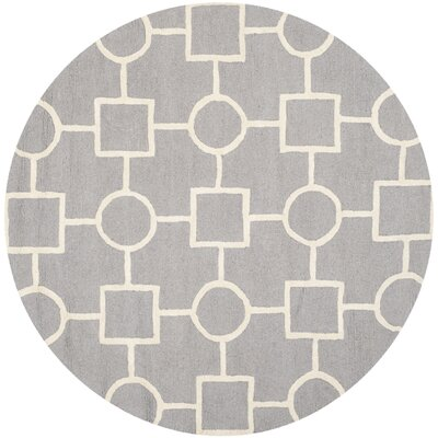 Martins Silver/Ivory Area Rug Rug Size: Round 6