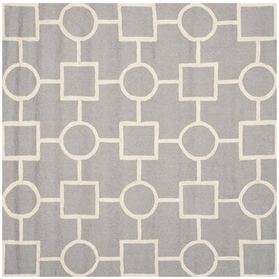 Martins Silver/Ivory Area Rug Rug Size: Square 6