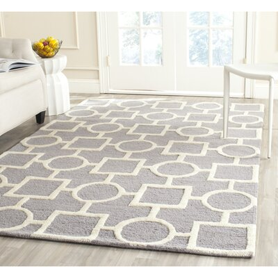 Martins Silver/Ivory Area Rug Rug Size: Rectangle 4 x 6