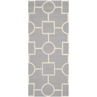 Martins Silver/Ivory Area Rug Rug Size: Runner 26 x 6