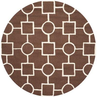 Martins Dark Brown Area Rug Rug Size: Round 6