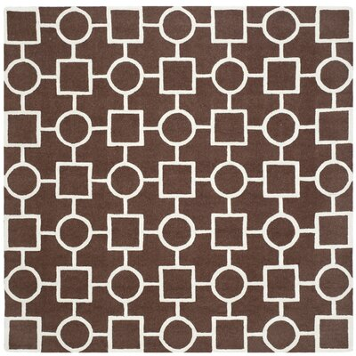 Martins Dark Brown Area Rug Rug Size: Square 8