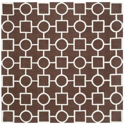 Martins Dark Brown Area Rug Rug Size: Square 8