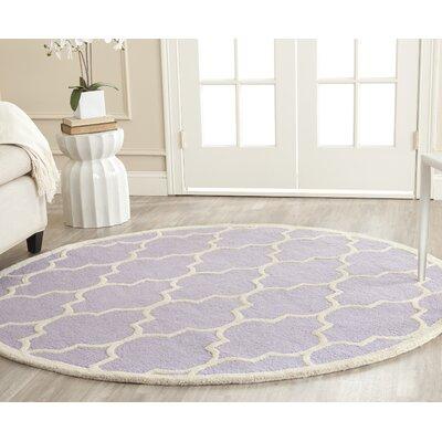 Charlenne Lavender/Ivory Area Rug Rug Size: Round 6