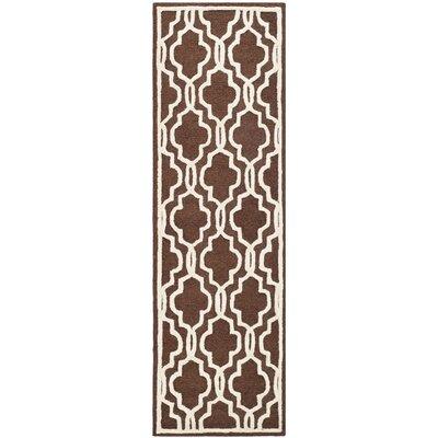 Martins Hand-Tufted Wool Dark Brown Area Rug Rug Size: Runner 26 x 12