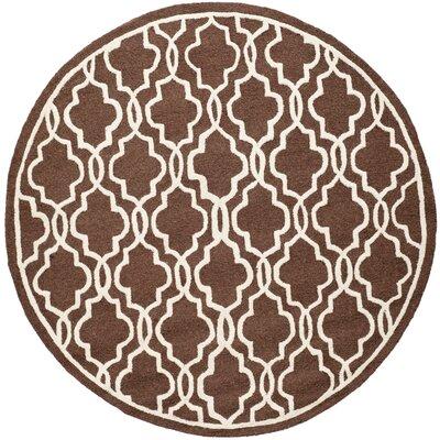 Martins Hand-Tufted Wool Dark Brown Area Rug Rug Size: Round 6