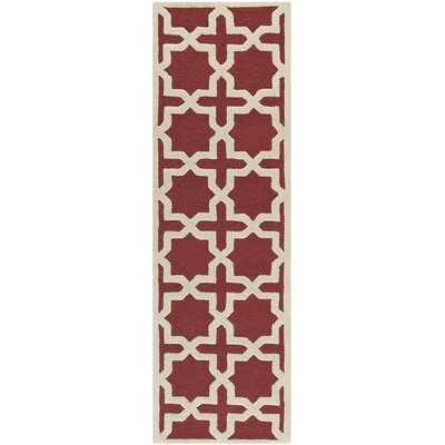 Martins Rust/Ivory Area Rug Rug Size: Runner 26 x 10