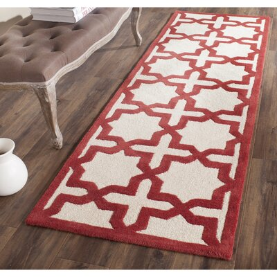 Brunswick Wool Red/Beige Area Rug Rug Size: Runner 26 x 10