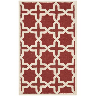 Brunswick Wool Red/Beige Area Rug Rug Size: Round 6