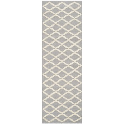 Charlenne Hand-Tufted Wool Silver/Ivory Area Rug Rug Size: Runner 26 x 6