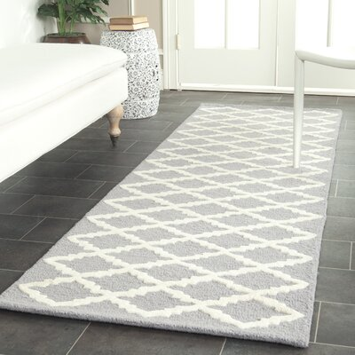 Charlenne Hand-Tufted Wool Silver/Ivory Area Rug Rug Size: Runner 26 x 12
