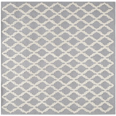 Charlenne Hand-Tufted Wool Silver/Ivory Area Rug Rug Size: Square 6
