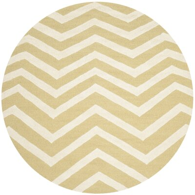 Martins Light Gold Rug Rug Size: Round 6 x 6