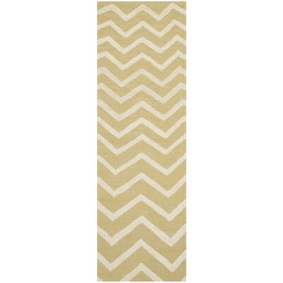 Charlenne Hand-Tufted Wool Light Gold/Ivory Area Rug Rug Size: Rectangle 2 x 3