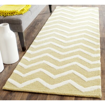 Charlenne Hand-Tufted Wool Light Gold/Ivory Area Rug Rug Size: Rectangle 6 x 9