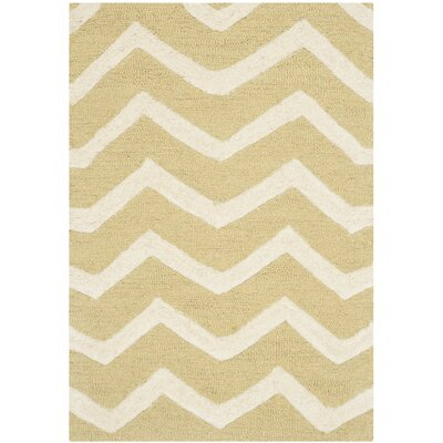 Charlenne Light Gold Rug Rug Size: 2' x 3'