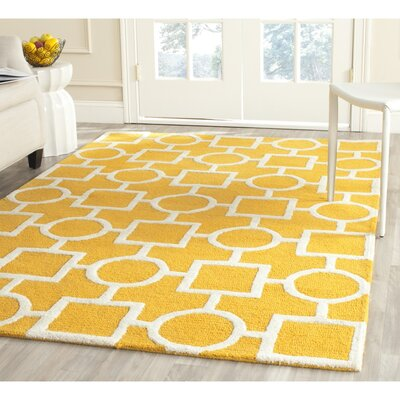 Martins Gold/Ivory Area Rug Rug Size: Square 8