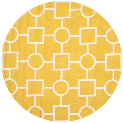 Martins Gold/Ivory Area Rug Rug Size: Round 6