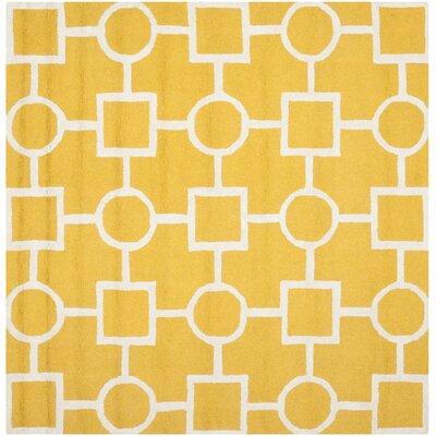 Martins Gold/Ivory Area Rug Rug Size: Square 6