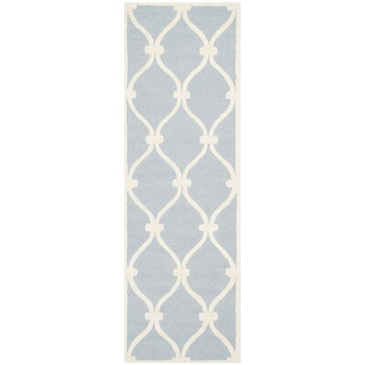 Martins Hand-Tufted Wool Blue/Ivory Area Rug Rug Size: Runner 26 x 8