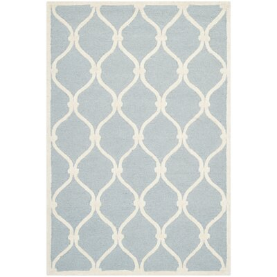 Martins Hand-Tufted Wool Blue/Ivory Area Rug Rug Size: Rectangle 4 x 6
