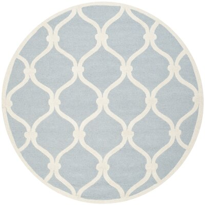 Martins Hand-Tufted Wool Blue/Ivory Area Rug Rug Size: Round 6