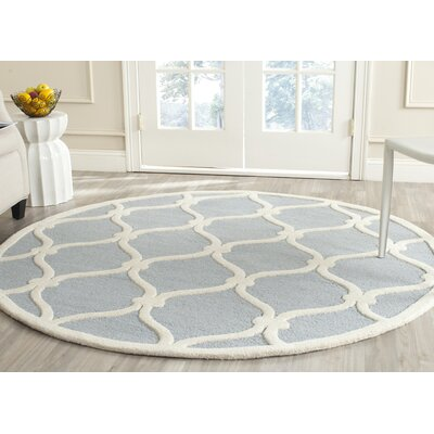 Martins H-Tufted Wool Blue Area Rug Rug Size: Round 6