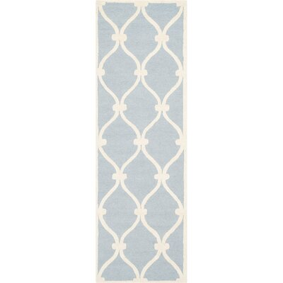 Martins Hand-Tufted Wool Blue/Ivory Area Rug Rug Size: Runner 26 x 6