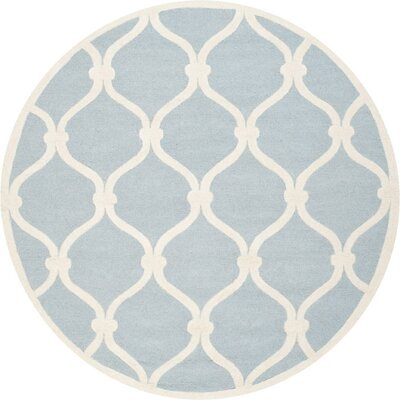 Martins H-Tufted Wool Blue Area Rug Rug Size: Round 8