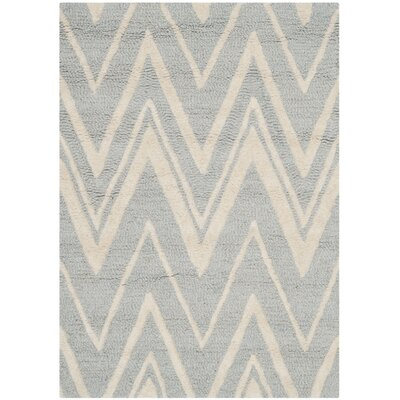 Martins Hand-Tufted Wool Gray/Ivory Area Rug Rug Size: Rectangle 2 x 3