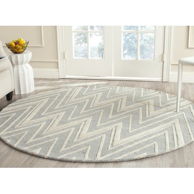 Martins Hand-Tufted Wool Gray/Ivory Area Rug Rug Size: Round 6
