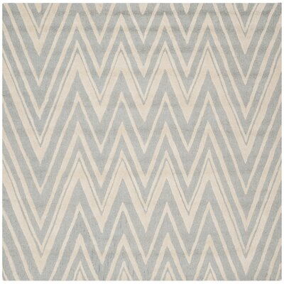 Martins Hand-Tufted Wool Gray/Ivory Area Rug Rug Size: Square 8