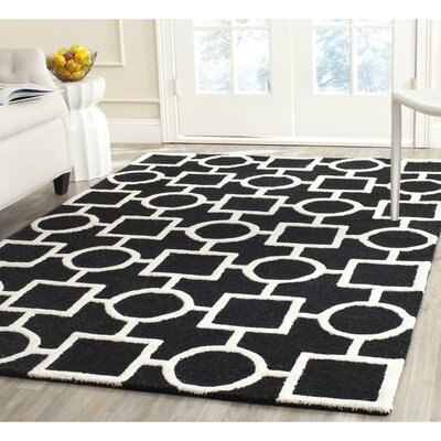 Martins Black Area Rug Rug Size: Square 8
