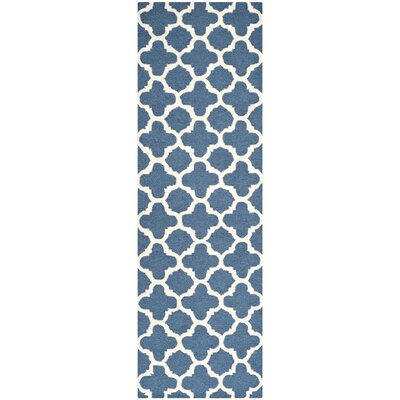Martins Hand-Tufted Wool Blue Area Rug Rug Size: Runner 26 x 12