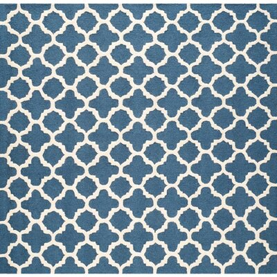 Martins Hand-Tufted Wool Blue Area Rug Rug Size: Square 8