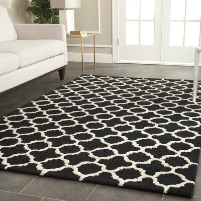 Martins Handmade Wool Black/Ivory Area Rug Rug Size: Rectangle 5 x 8