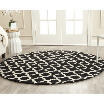 Martins Handmade Wool Black/Ivory Area Rug Rug Size: Round 6