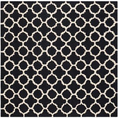 Martins Black Area Rug Rug Size: Square 6
