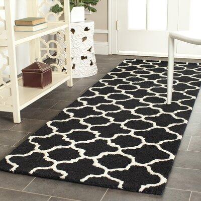 Martins Handmade Wool Black/Ivory Area Rug Rug Size: Runner 26 x 12