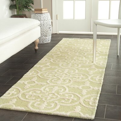 Marlen Light Green/Ivory Area Rug Rug Size: Runner 26 x 12