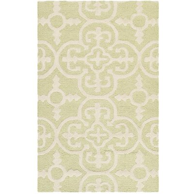 Marlen Light Green/Ivory Area Rug Rug Size: Rectangle 3 x 5