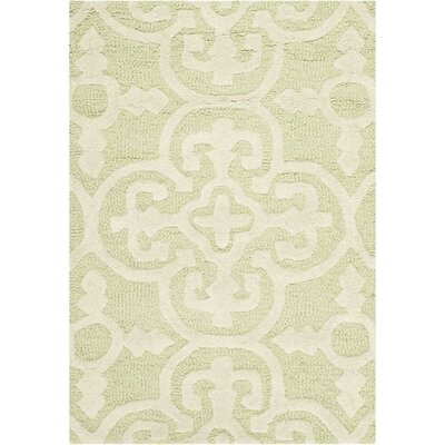Marlen Light Green/Ivory Area Rug Rug Size: Rectangle 4 x 6